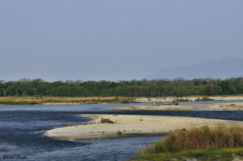 Manas River, a river boarder between India and Bhutan
