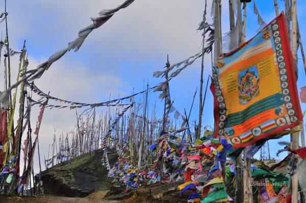 Prayer flags at Chele La, Bhutan