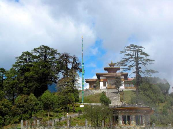 108 chortens (stupas) and administrative building at Dochula