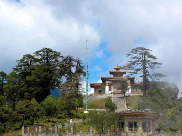 108 chortens (stupas) and administrative building at Dochula