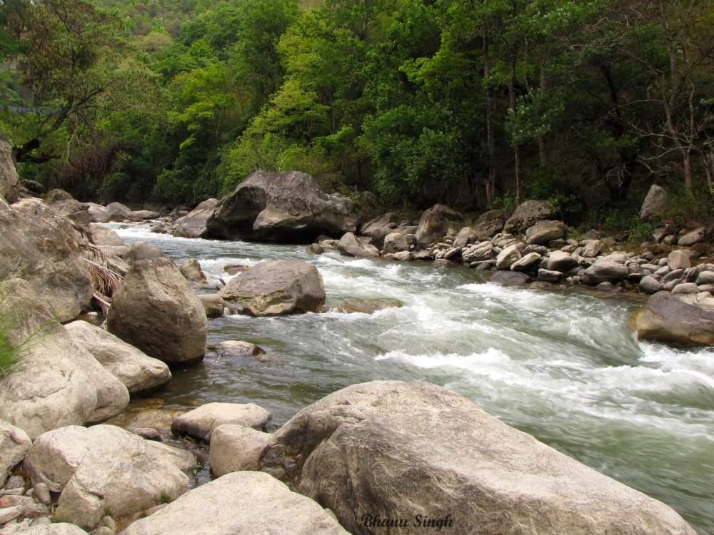 Dang Chu (river), at the back side of Kichu Resort, Punakha.